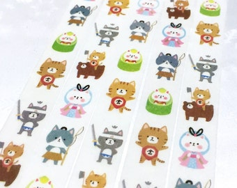 cute cat washi tape 7M kendo meow meow Sword Fighting jedi sticker tape kawaii cat cartoon cat masking tape cat diary planner sticker gift