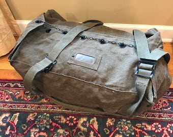 Vintage Canvas Military bag with Chain Closure - LOOK