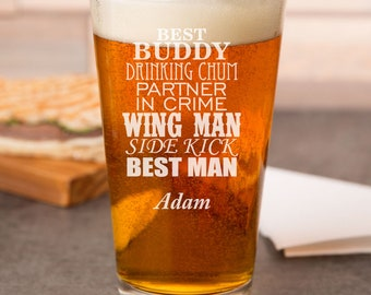Best Man Pint Glasses - Partner in Crime - Wing Man - Side Kick Personalized Pint Glass - DGI23-A3