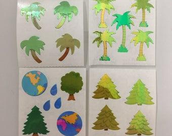 Vintage Pearl Sandylion Palm Tree, Pine Tree, Earth Stickers
