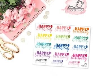 Happy Birthday || 15 Planner Stickers || SKU 005