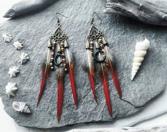 Earrings red feathers, Black Moon, love bronze, hippie, gypsy, jewel fimo