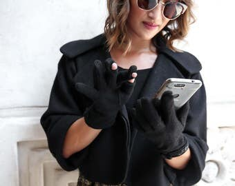 Womens touchscreen gloves! High Quality, Wool, Discreet, Stylish - emke Cefalu Small