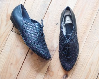 Vintage leather woven shoes flats eu 38