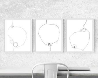 Geometric Art Prints, Triptych Wall Art, Abstract Scandinavian Art, Black and White Wall Art Set of 3 Prints, Pencil Drawing, Line Art