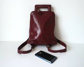 Vintage Burgundy Leather Backpack, Leather Rucksack, Midi Size Backpack, Midi Rucksack