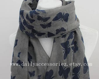 gray butterfly scarf, butterfly shawl, spring scarf, summer scarf, beach sarong, gift for her, for her, for women, womens scarves