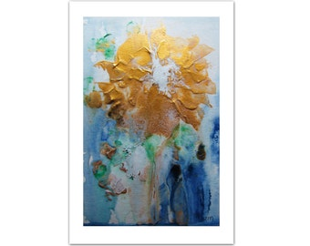 Gold Metallic, Abstract Painting, Flower Painting, Original Painting Acrylic Painting, Floral Art, Christmas Gift for Her, Tatjana Ruzin