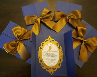 items similar to beauty and the beast invitations belle invitations on etsy. Black Bedroom Furniture Sets. Home Design Ideas