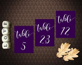 Purple Script Instant Download Printable Table Numbers 1 32 Double Sided