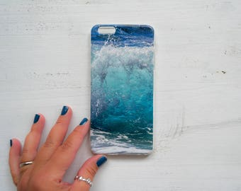 Wave iPhone 7 case Aqua Blue iPhone 6 case Sea Surfer lover Gift Soft case iPhone 5 Birthday gift for him gift for her Gift for beach lovers