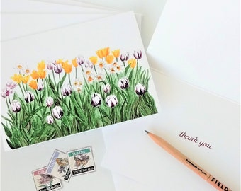 Thank You Cards, Tulip Note Cards, Spring Stationery, Purple and Yellow Tulips, Set of 5 and Envelopes Print of Original Watercolor Painting