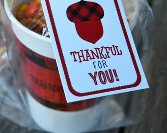 Thanksgiving gift tag-teacher gift tag-acorn gift tag-buffalo plaid tag-hostess gift tag