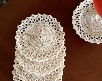 Crochet Coaster Set - Doily Coasters - Vintage Home Decor - Drink Coasters - Bridal Shower Gift - Handmade Coasters - Kitchen Decor