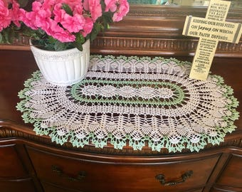 White and Spearmint Lace Doily - Farmhouse Decor - Handmade Doilies - Dining Room Decor - Wedding Gift - Table Decor - Housewarming Gift