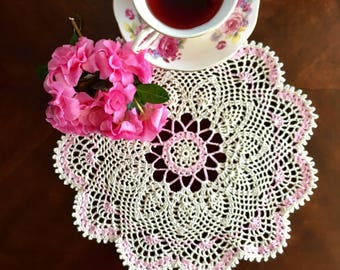 Custom Order - Ivory and Rose Quartz Lace Doily with 3 roses and leaves