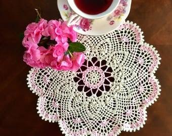 Ivory and Rose Quartz Lace Doily - Spring Doily - Farmhouse Decor - Crochet Centerpiece - French Country Decor - Vintage Home Decor