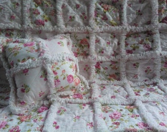 Baby Girl Rag Quilt / Shabby Cottage Chic / Pink Roses / Quilted / Patchwork