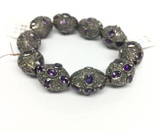 Amethyst  diamonds beads ,diamond beads , beads , amethyst  , pave beads