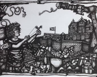 Catapult the Capital! Print from Original Pen Drawing