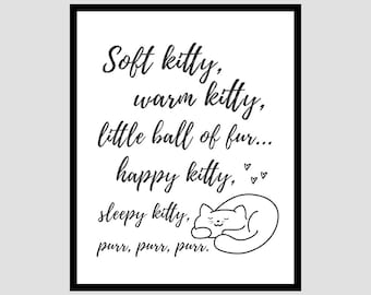 Printable: The Big Bang Theory Soft Kitty Song Quote Art, Black & White, 8x10