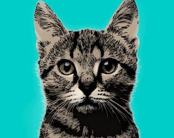 Custom cat portrait, Cat portrait, Cat portrait custom, Pet portrait, Cat painting, Cat lover gift, Cat illustration, Cat memorial