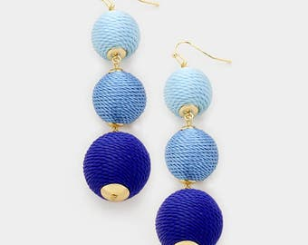 Bon Bon Earrings, Blue Ombre, Les Bonbons, Ball Earrings, Triple Ball Earrings, Gumdrop Earrings, Bon Bons, Ball Drop Earrings