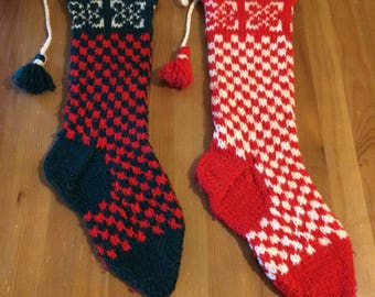Vintage crocheted checkered christmas stocking set with pom poms