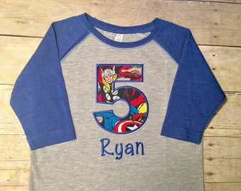 superhero birthday shirt, superhero birthday party, birthday shirt for boys, taglan, personalized name and age, gray and ROYAL BLUE