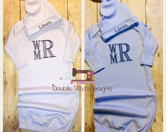 baby boy coming home outfit, Personalized baby boy gift, newborn gown, boy hospital outfit, monogrammed, layette, first pictures, blue gray