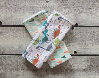 Baby Burp Cloths, Burp Cloth Set, Dinosaur Burp Cloths, Geometric Burp Cloths, Chenille Burp Cloths, Baby Shower Gift