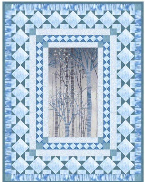 Sound Of The Woods Quilt Kit Modern Blue Trees Queen