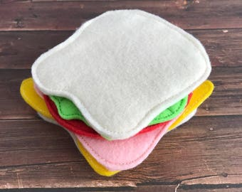 Embroidered Play Food Felt Sandwich, Pretend Play, 6 pc set, Ham, Cheese, Lettuce, Tomato, Bread