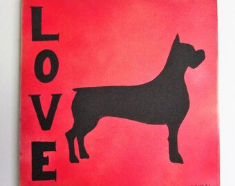 """Boxer Love - 12"""" x 12"""" - Spray Paint & Acrylic on Stretched Canvas, Dog Breed Customizable"""