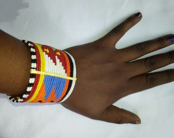 African Bracelet, Hand-made jewelry, Tribal, Maasai Beadwork