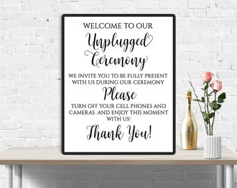 Unplugged Ceremony Sign, Unplugged Wedding Sign, Unplugged Sign, No Cell Phones Sign, No Cameras Sign, Wedding decor, Turn off your phones