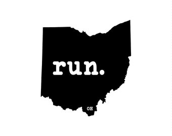 Run OH State Outline Magnet