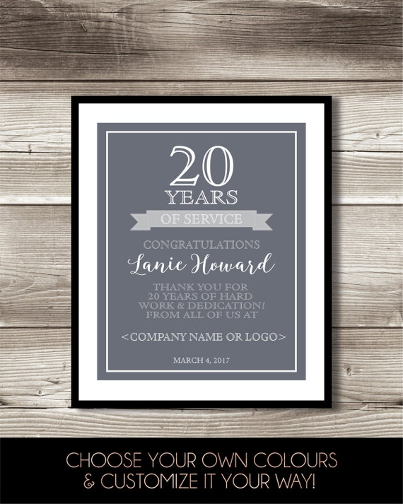 20 Year Work Anniversary Print 20th Work Anniversary Digital