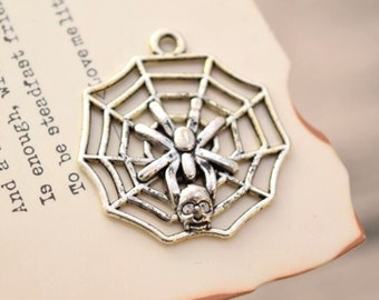 20 antique silver skull spider web charms charm pendant pendants  (YY02)