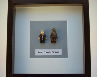 Star Wars Han Solo and Chewbacca mini Figures framed picture 25 by 25 cm