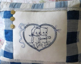 Cushion Hand embroidered,  vintage linens, French Antique Vichy