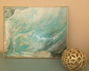 SOLD! Original abstract with acrylic white, gold, black, aqua, and custom gold frame.