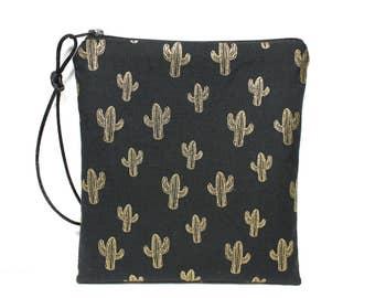 fabric modern cactus gold and black makeup Kit