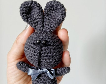 Bunny/crochet/toys/Easter/gray/craft/handmade/small/stuffed/rabbit/cotton/baby/todler