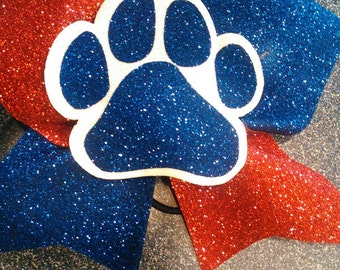 Red, blue, Paw bow