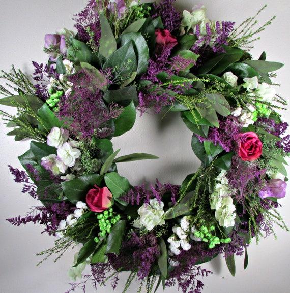 "custom sizes, 15"" lemon leaf wreath, small wreath, large wreath, leaf wreath, indoor wreath, roses wreath, natural wreath, decorative wreath"