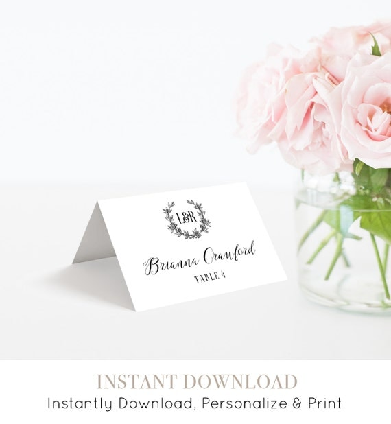 Wedding Escort Card Template, Printable Place Card, Editable Seating Card, Tent and Flat Card with Meal Option, Instant Download #029-111PC