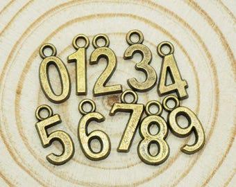 20pcs Antique Bronze numbers Charm Pendants for Necklace / accessory 15.5 mm x 7 mm (500-501)