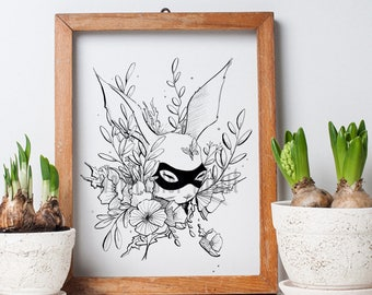 Whimsical Bunny Dressed for the a Masked Ball