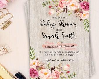 floral baby shower invitation, boho baby shower invitation, bohemian baby shower invite, boho wood baby shower, floral peonies baby shower